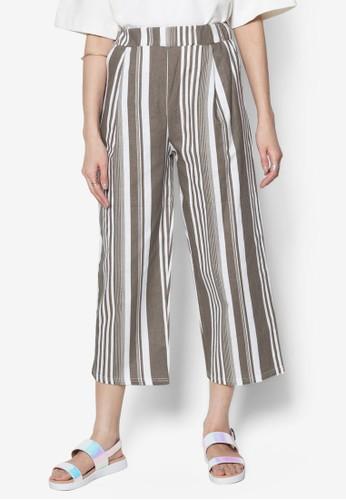 條紋寬管七分褲, 服飾, zalora 心得服飾