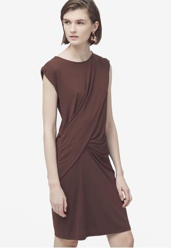 垂墜褶飾連身裙,zalora鞋子評價 服飾, 服飾