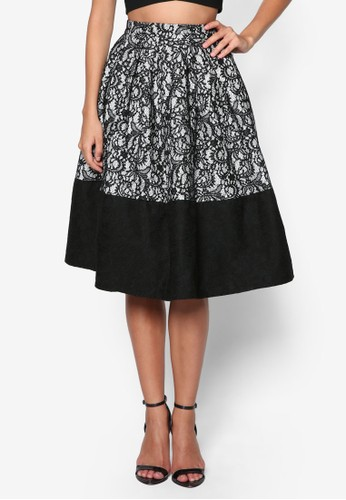 Premium 蕾絲及膝裙zalora 台灣, 服飾, 裙子