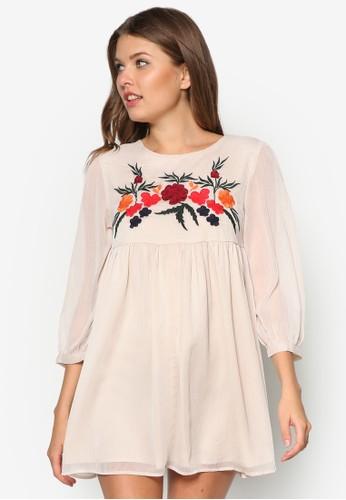網紗拼袖繡花洋裝, 服飾, 夏zalora鞋日洋裝