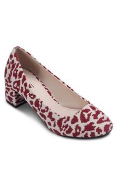 印花粗跟中跟鞋