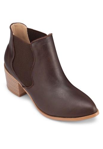 木製粗跟仿皮踝zalora開箱靴, 女鞋, 靴子