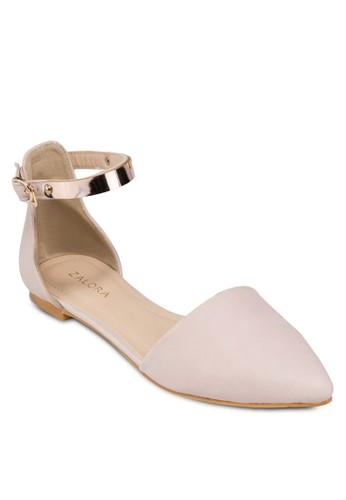 繞踝尖頭平zalora 心得底鞋, 女鞋, 鞋