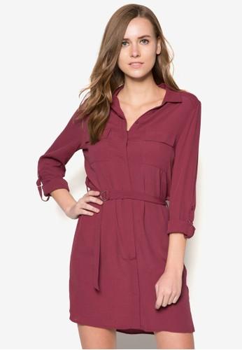 D環腰帶長袖連身裙, zalora 評價服飾, 正式洋裝