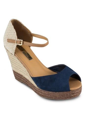 Berkzalora鞋eley 露趾編織拼接楔形鞋, 女鞋, 魚口楔形鞋