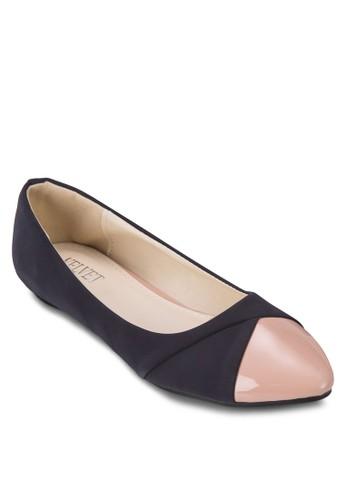 仿皮拼接尖頭平底鞋, 女鞋, 芭zalora 心得蕾平底鞋