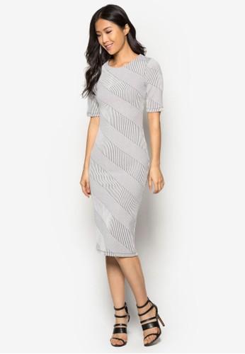 條紋提花及zalora鞋膝連身裙, 服飾, 緊身洋裝
