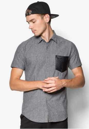 Short Sleeve Shirt With PU Patczalora退貨h Pocket, 服飾, 服飾