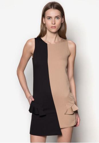 zalora開箱撞色拼接A 字連身裙,, 服飾, 短洋裝