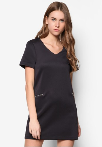 Colzalora開箱lection Zip Pockets Shift Dress, 服飾, 洋裝