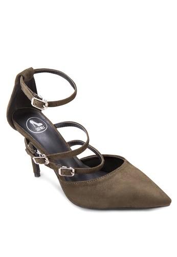 三扣環帶尖頭高跟zalora 心得鞋, 女鞋, 細帶高跟鞋