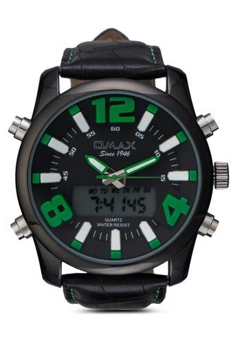 OAS141BK 仿皮圓框手錶,zalora鞋 錶類, 其它錶帶