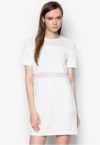 網紗拼接連身裙, 服飾, 服zalora開箱飾