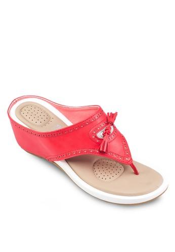 Alanis 雕花zalora 評價楔形涼鞋, 女鞋, 楔形鞋