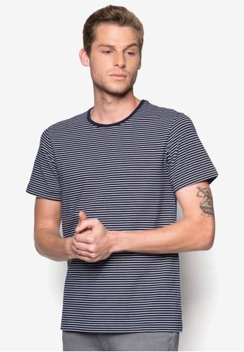橫條zalora 評價紋T 恤, 服飾, T恤