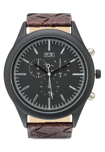 暗紋帶行針手錶, 錶類, 其它錶zalora 評價帶