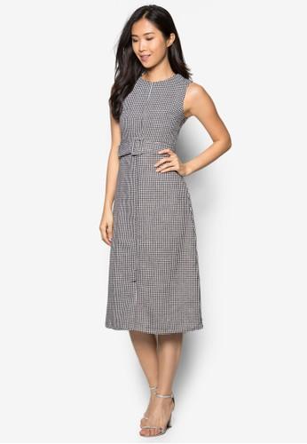 Greene 千鳥格紋腰帶連身裙, 服飾,zalora 鞋評價 洋裝