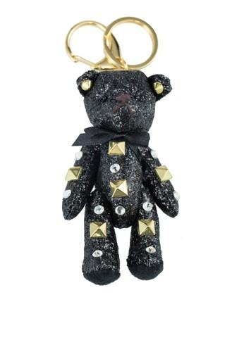鉚釘飾泰迪熊鑰匙圈, 飾zalora 台灣品配件, 飾品配件