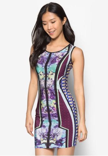 Iris 印花緊身連身裙zalora 心得, 服飾, 服飾