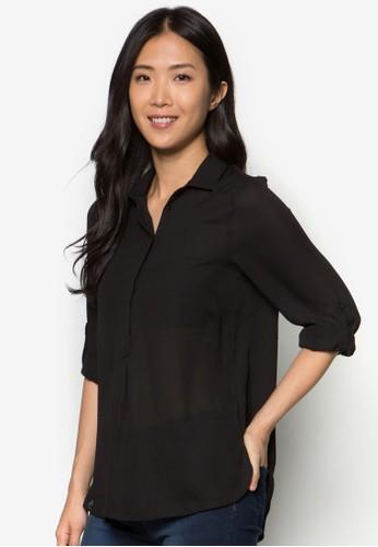 捲袖長袖襯衫, 服飾,zalora退貨 服飾