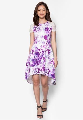 蕾絲拼袖花卉洋zalora鞋裝, 服飾, 洋裝
