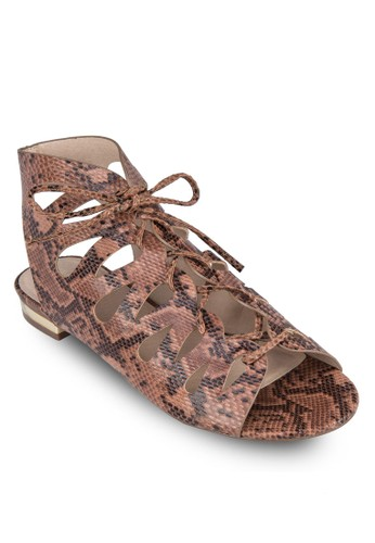 Hello 仿蛇紋鏤空繫帶zalora 鞋評價涼鞋, 女鞋, 涼鞋