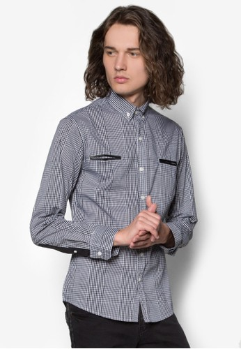 撞色滾邊格紋長袖襯衫, 服飾zalora開箱, 服飾