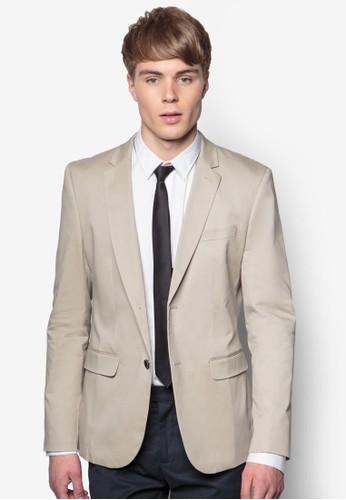 棉質雙鈕zalora開箱西裝外套, 服飾, 外套