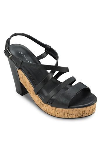 Brilla 交叉多帶粗跟厚底zalora鞋子評價涼鞋, 女鞋, 厚底鞋
