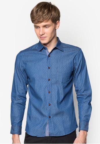點點丹寧長袖襯衫, 服飾,zalora退貨 印花襯衫