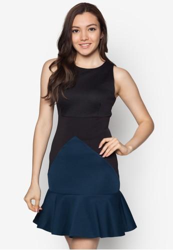 拼色zalora 心得波浪下擺洋裝, 服飾, 服飾