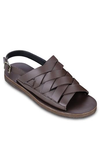 編織仿皮繞踝涼鞋, 鞋,zalora 心得 拖鞋