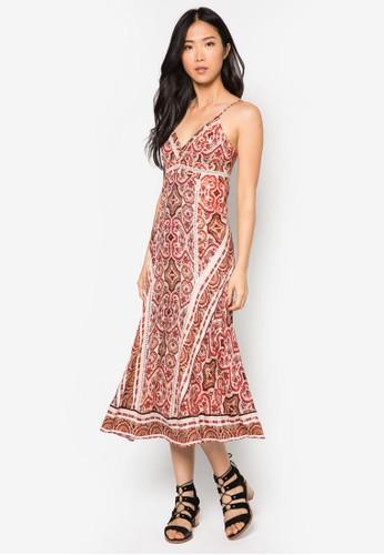 Moroccan 細肩帶印花連身長裙, 服飾, 夏日洋zalora 心得裝