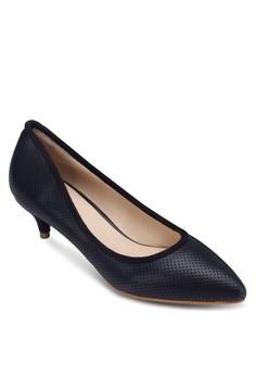 尖頭暗紋低跟淑女鞋