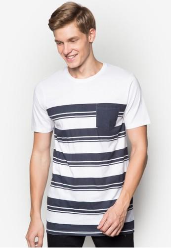 條紋口袋純棉TEE,zalora開箱 服飾, 條紋T恤