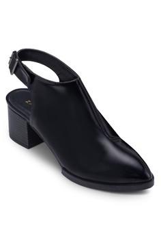 尖頭鏤空繞踝粗跟踝靴