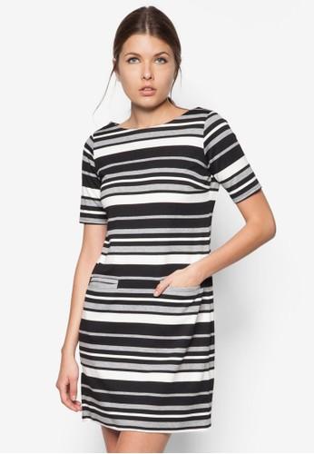 單色條紋運動風連身裙, 服飾, zalora 台灣洋裝