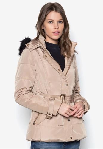 腰帶軟襯連帽冬裝外套, 服飾zalora 心得, 服飾