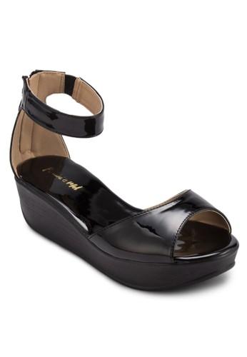 漆面繞踝厚底楔形zalora 心得涼鞋, 女鞋, 鞋