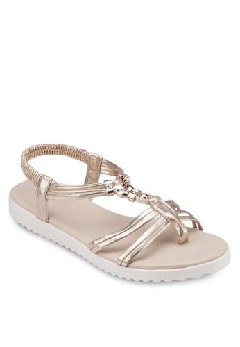 金飾T 字繞踝涼鞋zalora鞋子評價, 女鞋, 涼鞋