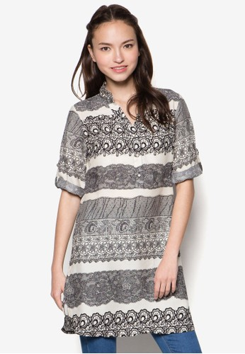 蕾絲繡花七分袖襯衫,zalora 台灣 服飾, 上衣
