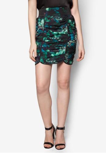 花卉圖案褶飾鉛筆zalora退貨短裙, 服飾, 迷你裙