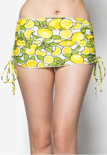 檸檬側繫帶泳裝短裙,zalora 評價 服飾, 服飾