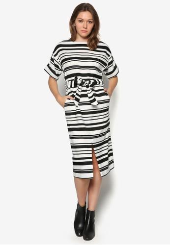 條紋腰帶及膝zalora 台灣洋裝, 服飾, 及膝洋裝