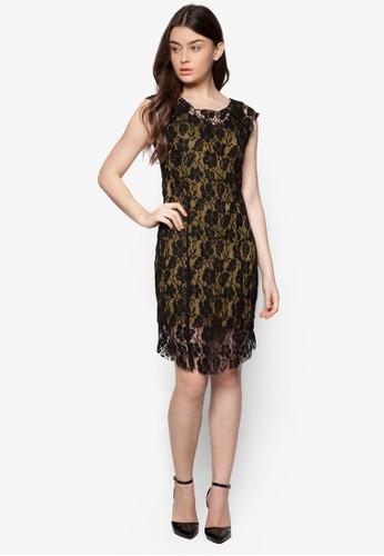 撞色蕾絲無袖zalora 評價連身裙, 服飾, 洋裝