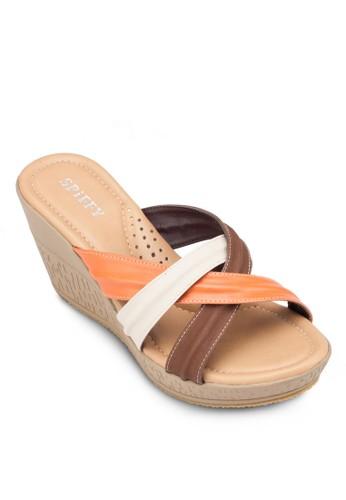彩色交叉寬帶楔形鞋, 女鞋,zalora開箱 楔形涼鞋