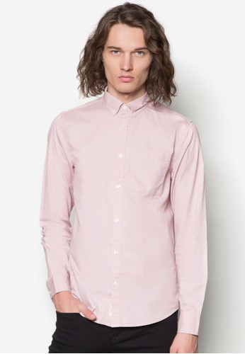 素色長袖襯衫, 服飾,zalora鞋 襯衫