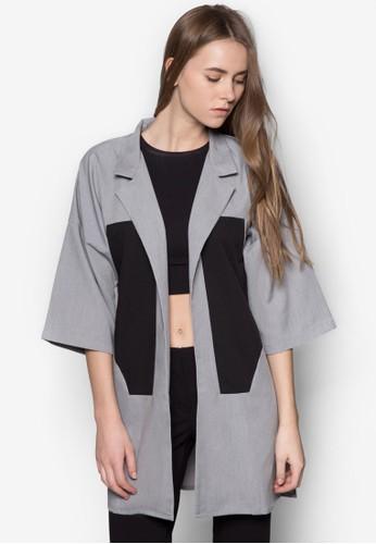 色塊拼zalora 心得接長版開襟外套, 服飾, 服飾
