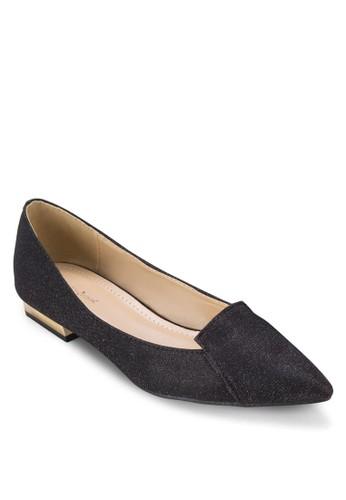 素面尖頭撞色粗跟鞋,zalora鞋 女鞋, 鞋