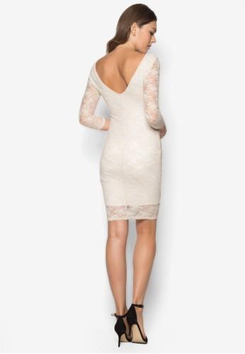 蕾絲zalora 台灣貼身七分袖洋裝, 服飾, 服飾